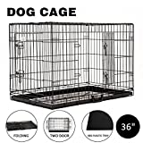 Cheap Idealchoiceproduct 36″ Double-Door Metal Portable Folding Dog Crate with Removable Plastic Pan–36L x 23W x 25H inches(92.5×57.5x64cm)