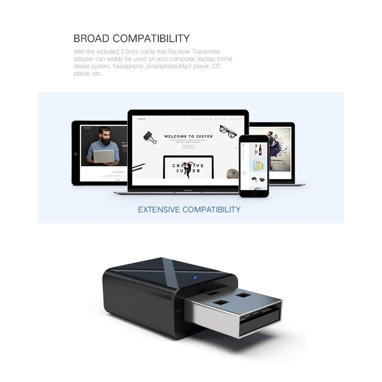 HONZIRY Transmisor USB Transmite Mini V3.0 Transmisor de Audio Adaptador est/éreo para TV iPod Mp3 Mp4 PC