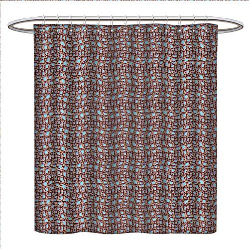 Lupine Web - Anyangeight Modern Shower Curtains with Shower Hooks Ocean Sailor Web Fish Net with Braid Like Lines on Blue Backdrop Image Print Fabric Bathroom Set with Hooks W54 x L78 Brown and Blue