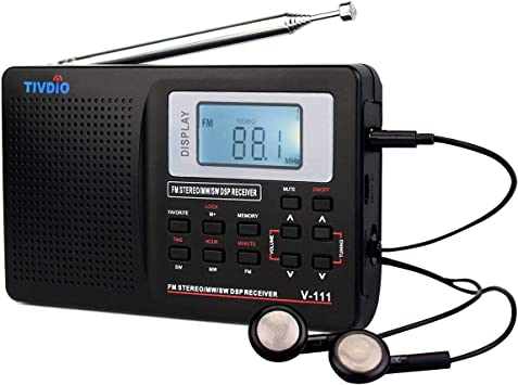 TIVDIO V111 Radio portátil Am FM Radio de Onda Corta DSP AA Funciona con batería con Reloj Despertador Digital con Temporizador de sueño con Auriculares (Negro): Amazon.es: Electrónica