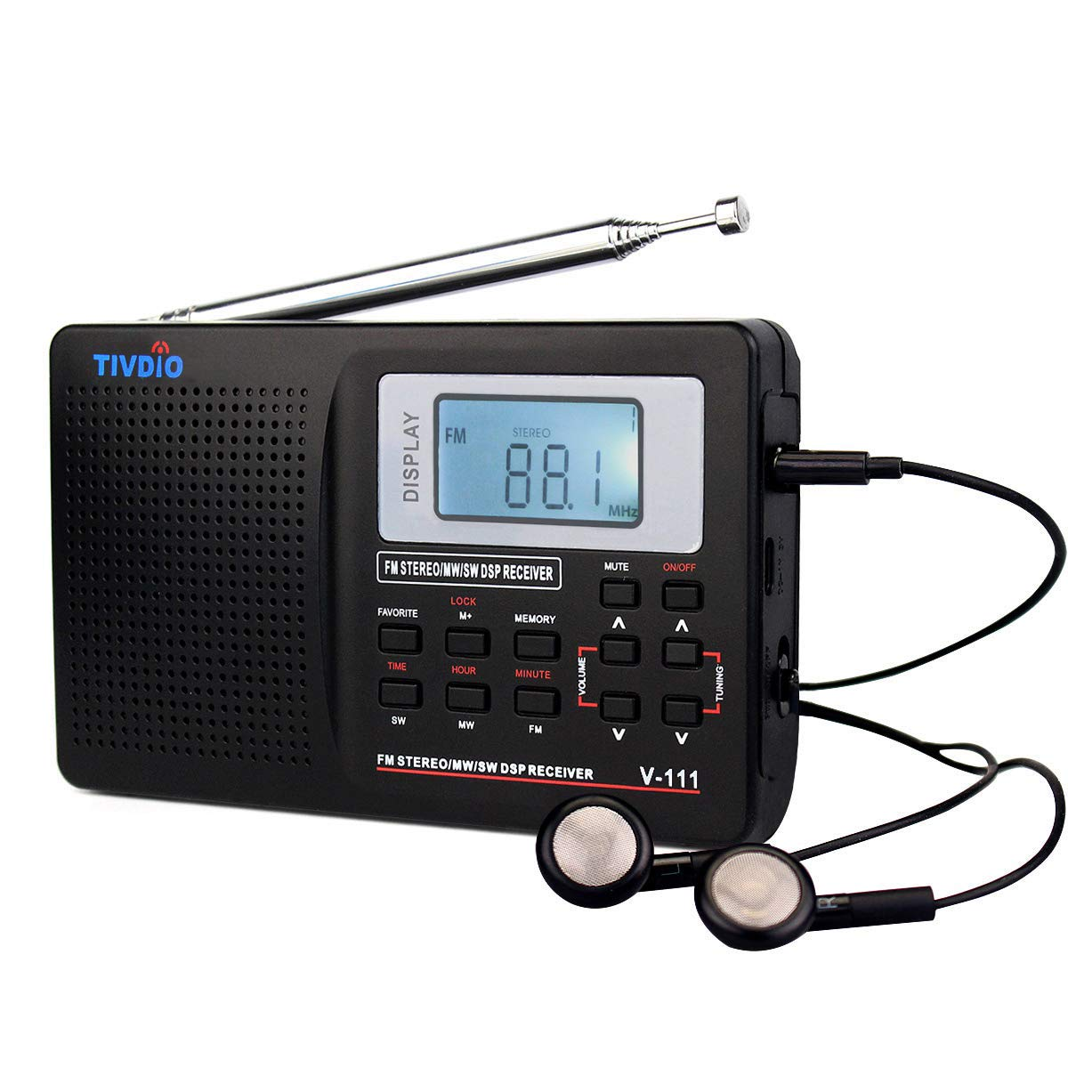 TIVDIO V111 Portable Radio AM/FM/Shortwave Transistor Radio DSP AA Battery Powered with Digital Alarm Clock Sleep Timer with Earphones(Black)