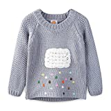 UWESPRING Girls Fashion Cartoon Clouds Pattern Knit Sweaters Pullover 8-9T Grey