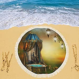 """your-fantasia etapa con anillo de champiñón de hada y lámparas circular playa Picnic Camping playa chal exterior 59""""x 59"""""""