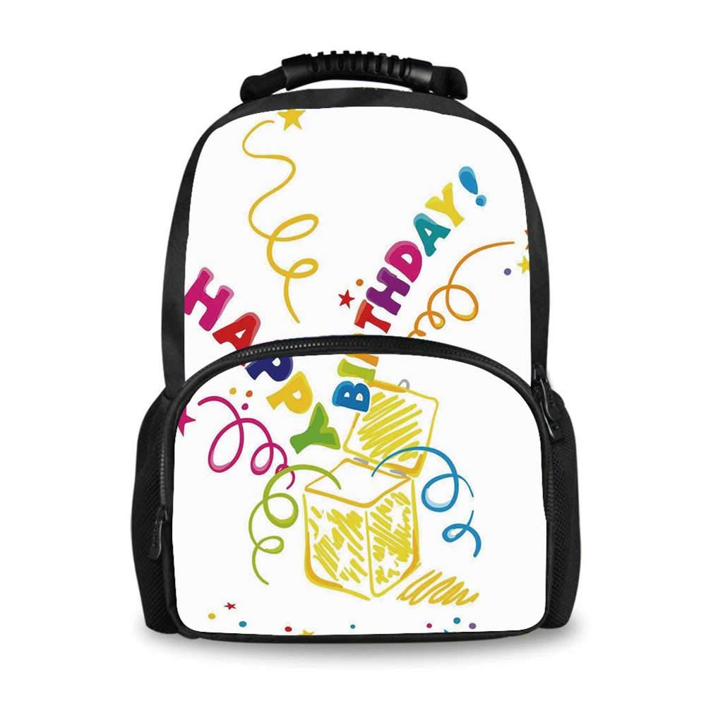 Birthday Decorations Adorable School Bag,Surprise in a Box Doodle Style Cheerful Spirals Confetti and Stars for Boys,12''L x 7''W x 17''H