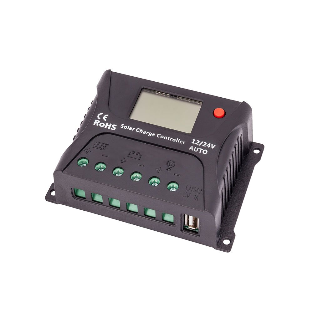HQST 10 Amp PWM Solar Panel Regulator Charge Controller with LCD Display and USB Port