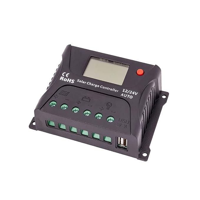 3 opinioni per HQST 10 Amp 10A PWM 12V/24V Controller di Carica con LCD e USB Porte
