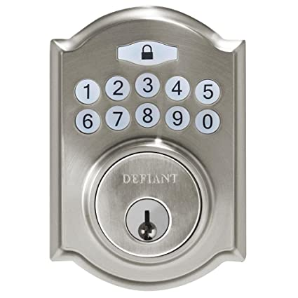 Bon Defiant Electronic Deadbolt Single Cylinder Keyless Entry Satin Nickel