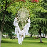 Clearance Sale!Deesee(TM)DIY Cute StickerHandmade Lace Dream Catcher Feather Bead Hanging Decoration Ornament Gift