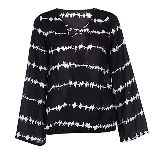 f1e4cb1eb26394 Staron Women Blouse Tops Long Sleeve Loose Chiffon Stripe Overlapping Shirt  Blouse (S