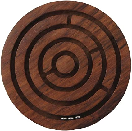 A2Z Selling Wooden Labyrinth Ball-in-a-Maze Christmas Jigsaw Puzzle Pedagogical Board Brain Teaser Fun Game for Kids (Diameter -6 Inches)