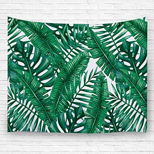 PDhome Watercolor Tropical Palm Leaves Wall Tapestry 60 x 80