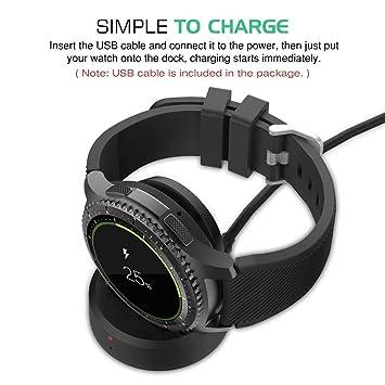 ToneStyle-U Cargador de Muelle de Carga inalámbrico Cargador de Reloj magnético de Reloj Inteligente para Samsung Gear S3 / Gear Sport R600: Amazon.es: ...