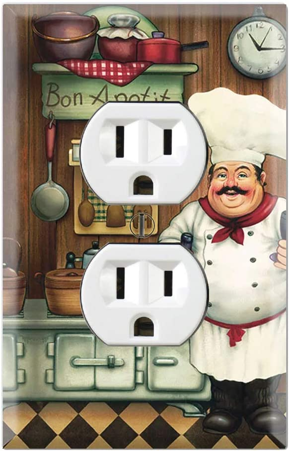 Graphics Wallplates - Bon Appetit Chef in the Kitchen- Duplex Outlet Wall Plate Cover