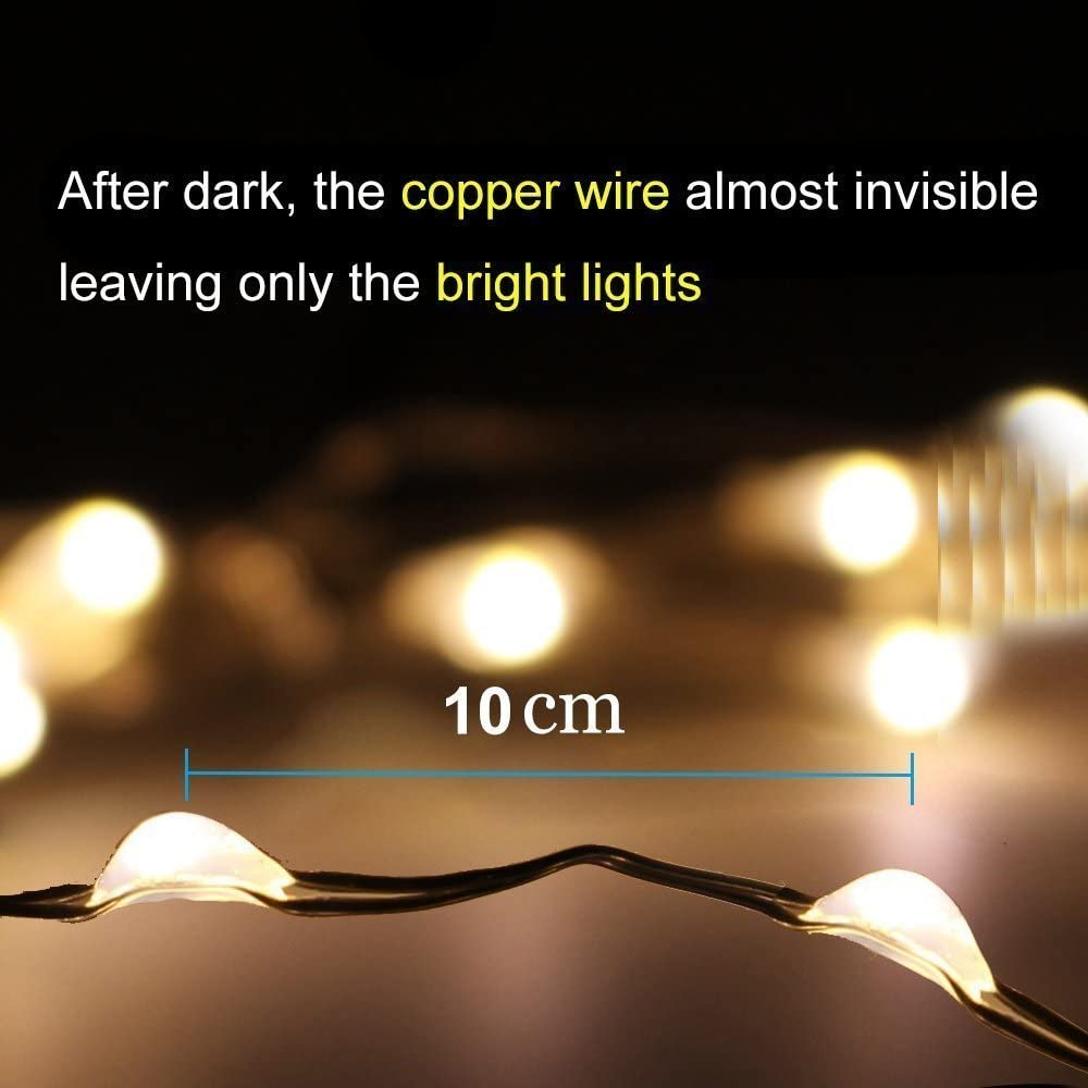 2 Pack Battery 2M 20 LED Silver Wire Fairy String Lights Firefly Lights DIY Decoration for Bedroom Jars Christmas Wedding Party Festival Outdoor Camping Blue
