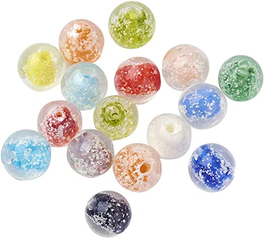 New Loose Bead Lampwork Glass Beads Round 12mm Jewelry Making DIY