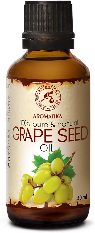 Aceite de Semillas de Uva 50ml - A Presión En Frío - Vitis Vinifera - Italia - 100% Puro y Natural - Cuidado Intensivo para la Piel del Rostro - Cabello - Masaje - Cuidado Corporal - Grapeseed Oil