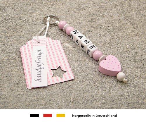 NAMENSANHÄNGER - Anhänger mit Namen | Baby Kinder Schlüsselanhänger für Wickeltasche, Kindergartentasche, Schultasche oder Rucksack mit Schlüsselring | Mädchen Motiv Herz in rosa