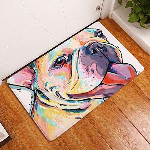 Eazyhurry Colorful Puppy Dog Print Rectangle Thin Doormat Pet Puppy Dog Printed Coral Fleece Home Decor Carpet Kitchen Floor Runner Floor Mat Indoor Outdoor Area Rug 16