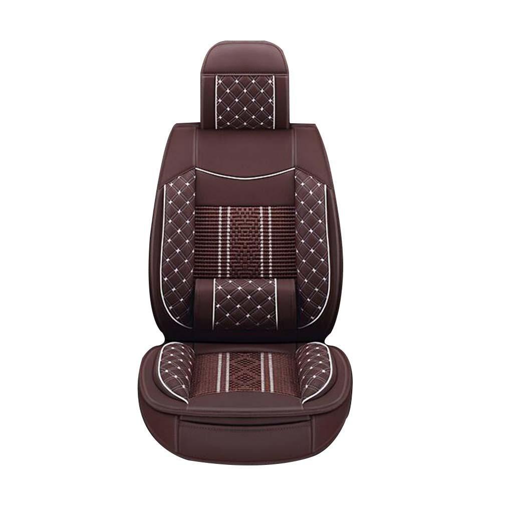 GOUGOU Car cushion / all-around leather plus ice silk car cushion / universal five pads / four seasons cushions