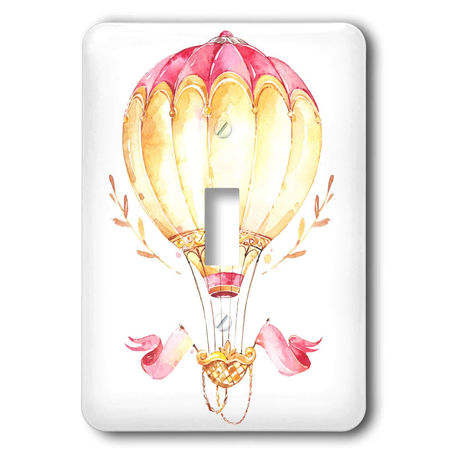 3dRose Anne Marie Baugh - Illustrations - Fancy Pink and Sepia Image Of Watercolor Hot Air Balloon Illustration - Light Switch Covers - single toggle switch (lsp_295510_1)
