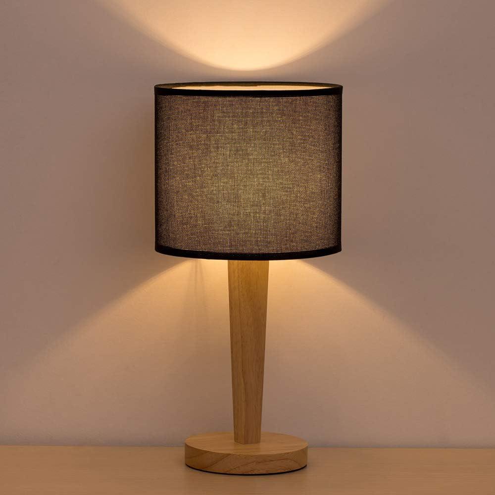 L/ámpara de luz nocturna minimalista con pantalla de tela L/ámpara de mesita de noche con base de madera para sala de estar L/ámpara de mesa de noche L/ámpara de mesa moderna