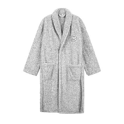 Pijamas Batas de Franela Grises Batas de Estilo Europeo y Americano Batas de otoño e Invierno