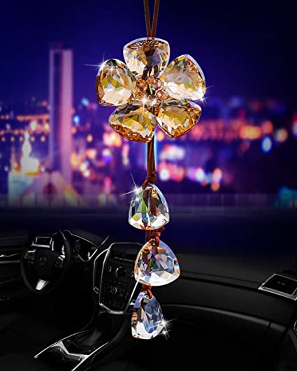 White Heart Alotex White Bling Crystal Rear View Mirror Charms Hanging in car Decoration car Mirror Accessories car Ornaments Interior Decor Rearview Mirror Car Pendant