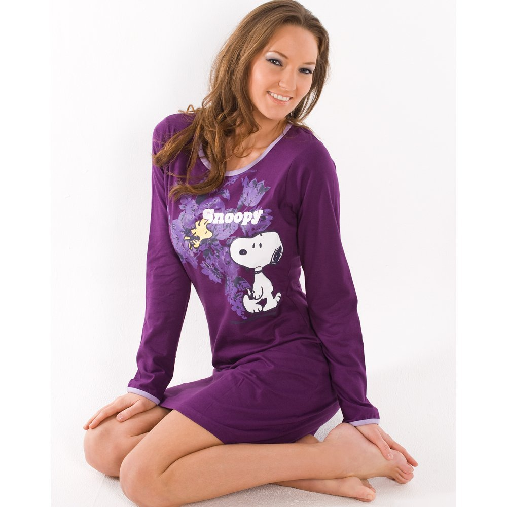 511965161a Camille Womens Knee Length Night Shirt Long Sleeve Cotton Snoopy Nightie  Purple L  Amazon.co.uk  Clothing