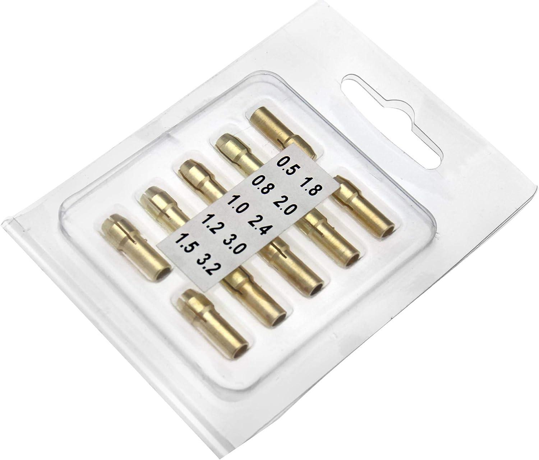 3,2 mm Messing-Bohrfutter 5 mm Schaft Mini-Bohrfutter-Bits f/ür Drehwerkzeug 10 St/ück 0,5