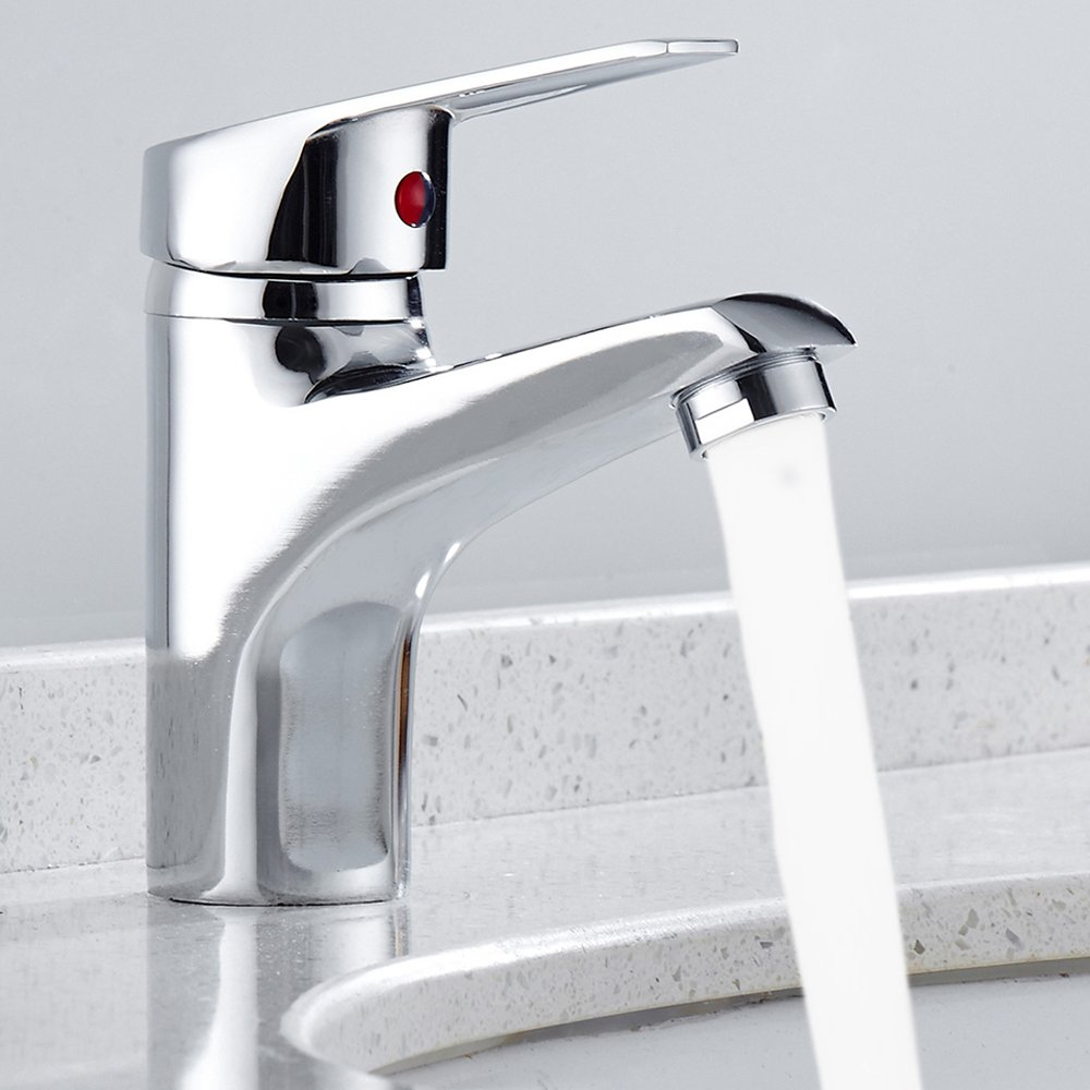 Happyyous Modern Single Handle Bathroom Faucet, Chrome Waterfall Bathroom Vanity Sink Faucet Vessel Faucet Lavatory Mixer Tap Water Spout