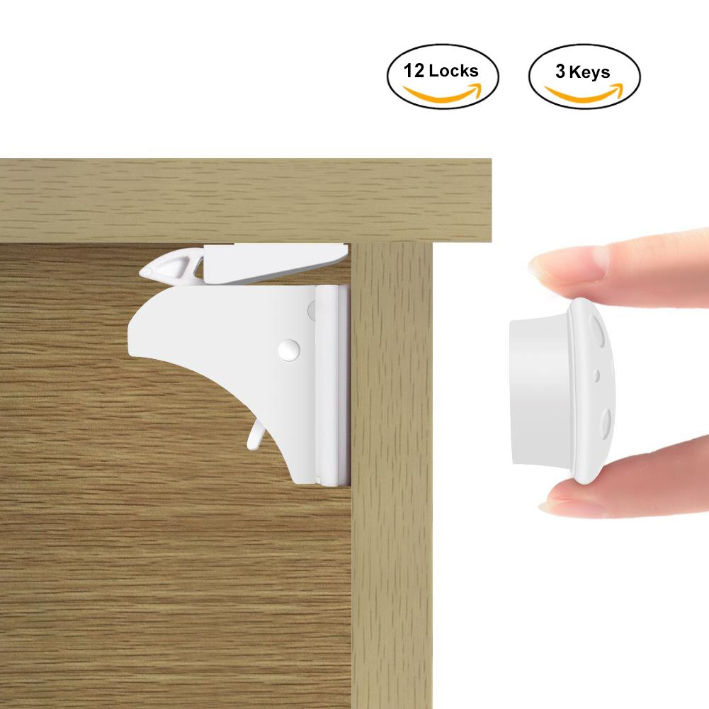 4 Locks+1 Keys Baby-proof Invisible Magnetic Safety Locks Toddler Protector for Home Kitchen Cupboard Drawer Locking System Child Safety Cabinet Locks