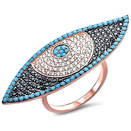 Oxford Diamond Co Nano Turquoise, White Black Cubic Zirconia Evil Eye .925 Sterling Silver Ring Size 6