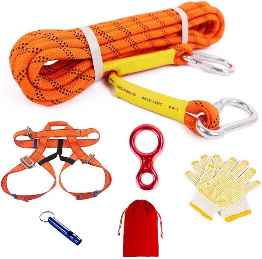 クライミングロープ セット 登山補助用安全ロープ カラビナ エイト環 クライミングハーネス 付き直径8mm/10.5mm/12mm 耐荷重 1600kg/2900kg/3000kg (Size : 60M/8mm)  60M/8mm