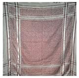 Authentic Large Middle Eastern Shemagh Arab Kafiya Keffiyeh from Hebron by Bethlehem Gifts TM (Dark Red/White)