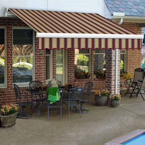- Awntech 8-Feet Maui-LX Left Motor with Remote Retractable Acrylic Awning, 84-Inch Projection, Burgundy/Tan Multi Colored