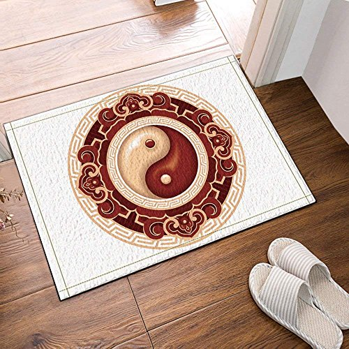 Taiji Warmer Towel (Chinese Wind Element Taiji Yin and Yang Bath Rugs Non-Slip Doormat Floor Entryways Outdoor Indoor Front Door Mat Kids Bath Mat 15.7x23.6in Bathroom Accessories)