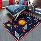 JIBUTENG Kids Spaceship Carpet,Blue Sky Galaxy Bedroom Rug,Unique Cartoon Planet Room Mats for Children (Solar system)