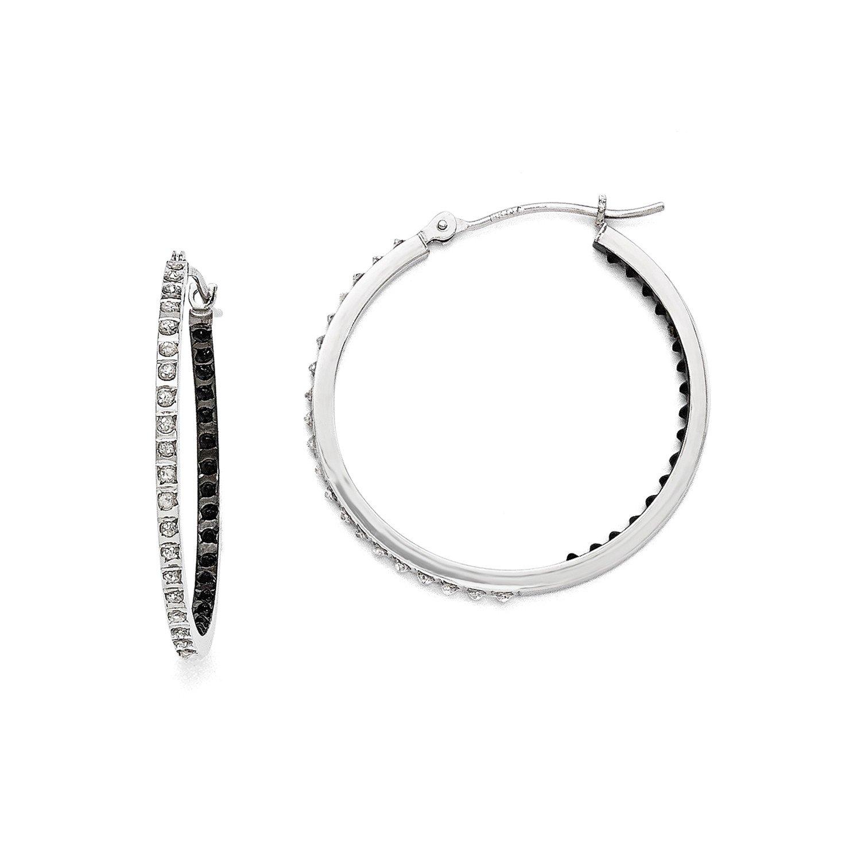 Roy Rose Jewelry 14K White Gold Diamond Fascination B & W Diamond Round Hinged Hoop Earrings ~ 30mm length