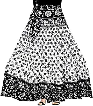 Modern Kart Women's Cotton Jaipuri Wrap Around Elegant Printed Skirt (MKSKT077, Black, Free Size)