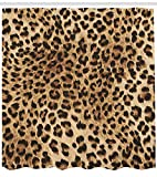 "Ambesonne Leopard Print Shower Curtain, Skin Pattern of a Wild Safari Animal Powerful Panthera Big Cat, Cloth Fabric Bathroom Decor Set with Hooks, 70"" Long, Brown Beige"