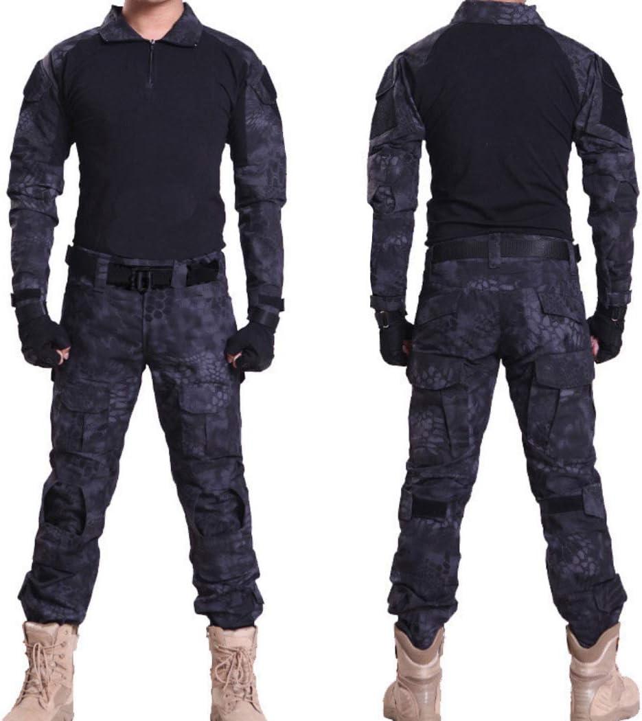 QHIU Taktisch T-Shirt Herren Airsoft Long Sleeve mit Ellbogensch/ützern BDU Combat Military Camo Army f/ür Paintball Swat Outdoor Sports