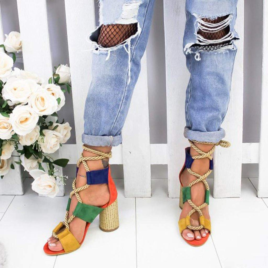 Womens Ladies Elegant Strap Mixed Colors Sandals Strap Lace Up High Heel Roman Sandals Beach Holiday Non Slip Shoes
