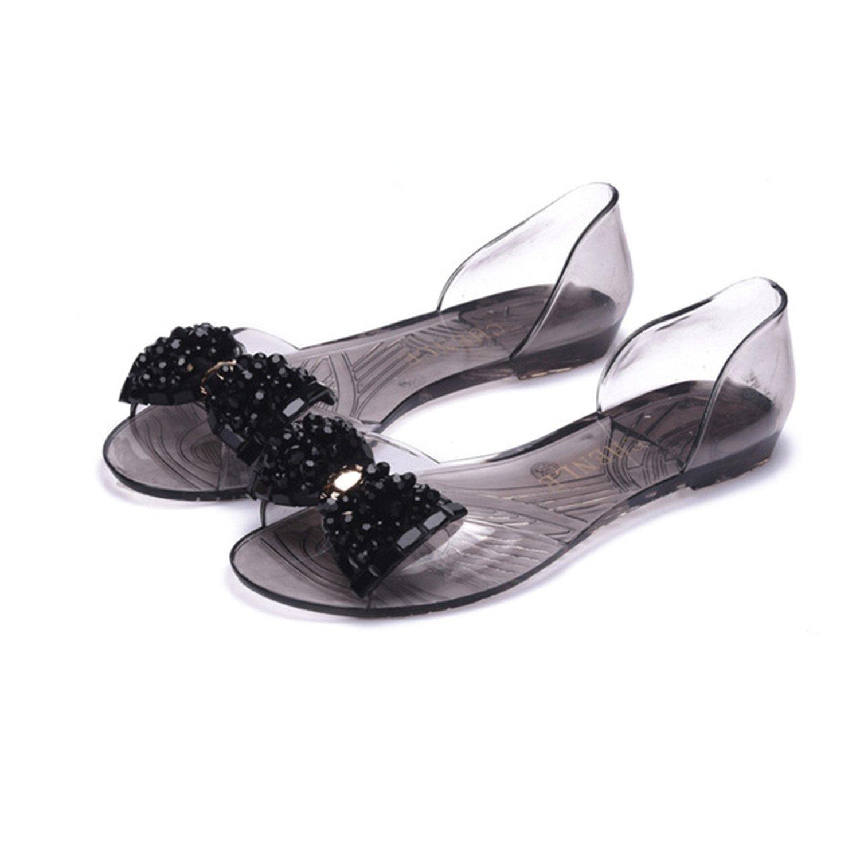 Baqijian Flats Flip Flops Summer Leisure Women Sandals Big Bowtie Peep Toe Soft Women Casual Sandals Clear Zapatilla Mujer 153 B06Y583KPC 7.5 B(M) US|Black