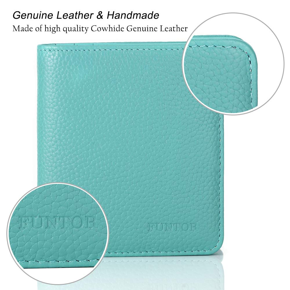 FUNTOR Leather Wallet for women, Ladies Small Compact Bifold Pocket RFID Blocking Wallet for Women, Blue by FT FUNTOR (Image #5)