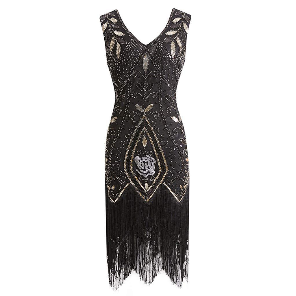 Black CHLZYD Popular Vintage 1920s Women Sequined Dress Beaded Tassel Party Prom Evening Dress