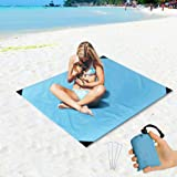 """Beach Blanket Sand Proof and Waterproof Pocket Sized Picnic Mat 55"""" X 43"""" - Quick Drying Nylon - Best Outdoor Beach Mat for Camping, Travel, Hiking, Festival and Sports - 4 Ground Stakes Included"""
