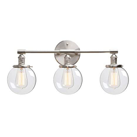 Prime Phansthy 3 Light Wall Light Brushed Nickel Bathroom Wall Mount Vanity Light Fixture Globe Sconce With 5 6 Inches Round Clear Glass Shade Brushed Home Interior And Landscaping Fragforummapetitesourisinfo