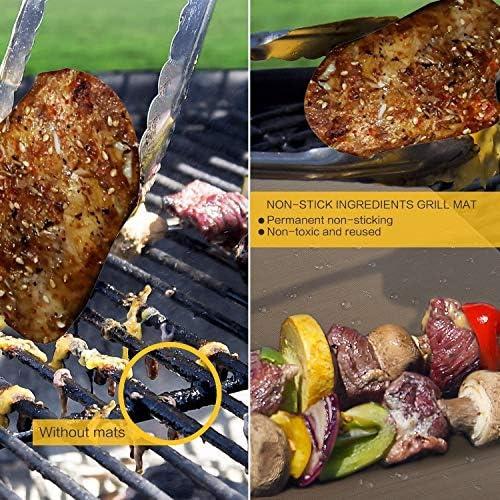 WLHER BBQ Grillmatte 5Er Set, Kochmatte, 100% PFOA-Frei Und Silikonfrei Für Kohle-, Elektro- & Gasgrills, Wiederverwendbar, PFOA-Frei, 40X33 cm, Kupfer