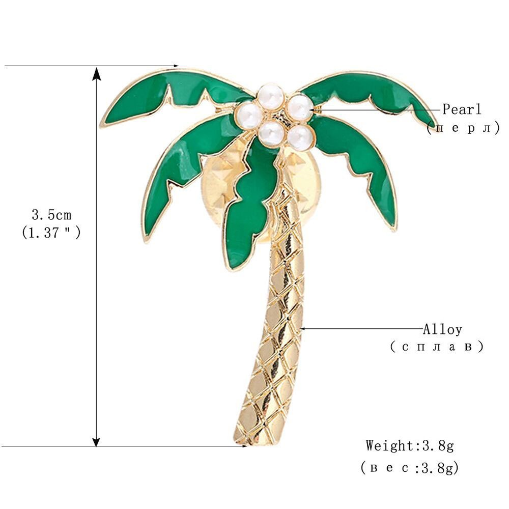 24d96cac4 AOCHEE Enamel Coconut Palm Brooch Pin Green Leaves pearl Tree Brooch Lapel  Stick Pin For Hat,Bag,Suit Suit (#1) AZBC18080101 [1541573259-15191] - $4.89