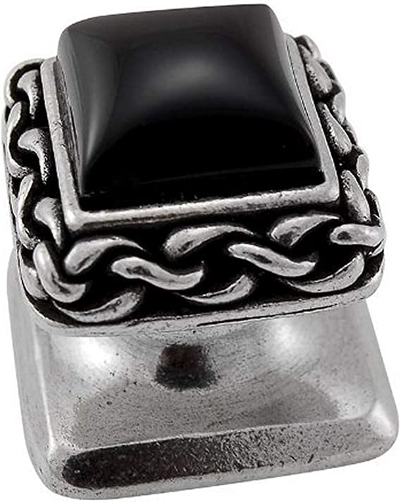 Polished Nickel Vicenza Designs K1151 Black Onyx Gioiello Square Stone Insert Style 5 Knob Small